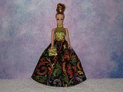MULTICOLOR SWIRLS gown with purse