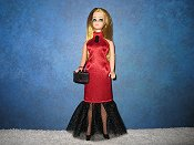 Red Satin and tulle skirt slim gown