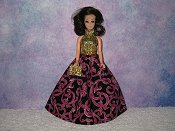 FUSCHIA SPARKLE gown with purse