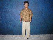 Gary Light Brown shirt & cream slacks