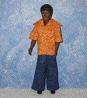 Orange and Yellow Diamond shirt and Denim pants