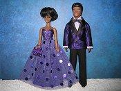 Purple Tuxedo and Purple Dot gown