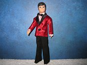 Red Satin with pink dickie tuxedo