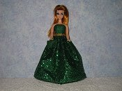 GREEN GLITTER gown with purse (sheds glitter!)