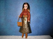 Metallic skirt Dress Orange Swirls with purse