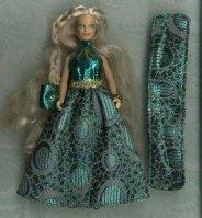 Metallic green ballgown, purse, & wrap