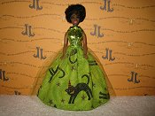 Cats on Lime Tulle Green bodice ballgown