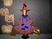 Gone Batty Witch with broom & tote PREORDE