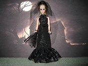 Bride spider web pattern gown, veil, bouquet (Dawn)