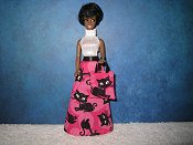 Kitty Black white halter top gown with tote