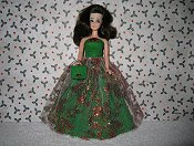 Red Metallic lace over green gown