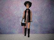 BLACK & LT PINK fringe mini with purse