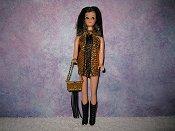DEEP GOLD & BLACK fringe mini with purse