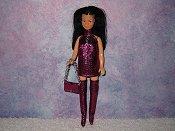 FUSCHIA & silver chain mini with purse