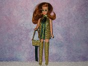 GOLD & GREEN fringe mini with purse
