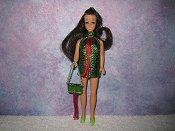 LT GREEN & DK RED fringe mini with purse