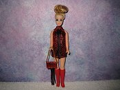 RED & BROWN fringe mini with purse