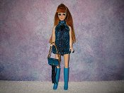 TURQUOISE & BLUE fringe mini with purse