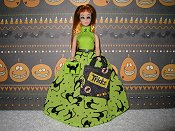 Lime & Black Cats gown, purse, Treat bag