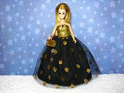 Golden Orb gown with purse