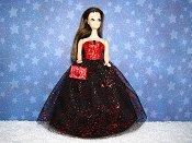Red Splash gown with purse