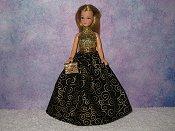 MIDNIGHT SWIRLS gown with purse