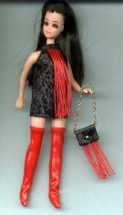 Metallic BLACK & RED fringe dancing mini with boots