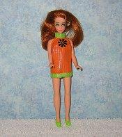 Orange with green daisy