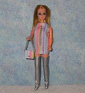 Stripes mini with silver boots & purse