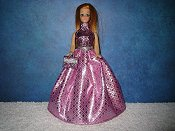 Pink & Lilac Diamond gown with purse