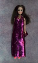 Pink tinsel gown with purse
