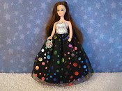 Rainbow Circles gown with Oval Purse