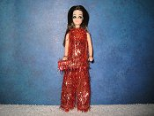 Red & Gold Eyelash Tinsel Tunic with purse