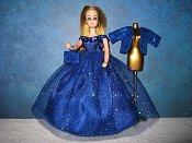 Sapphire Ballgown with diamond lame jacket PREORDER