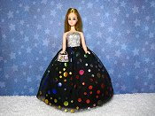 Rainbow Circles gown with metal oblong purse