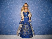 Slim blue gold gown with wrap