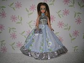 Blue Daisy Stripes gown with purse
