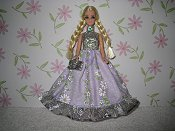 Lavender Daisy Stripes gown with purse