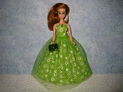 Green Daisy Gown with purse
