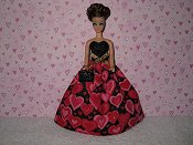 Hot pink & black ballgown with purse