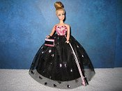 Black & pink foil hearts Ballgown (Denise)