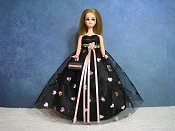 Black with pink foil hearts ballgown (Dawn)