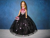 Black & Pink foil hearts halter Ballgown