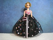 Black & pink with foil hearts ballgown (Jessica)