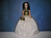 Gold Zigzag tulle gown with purse