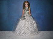 Silver Zigzag tulle ballgown with purse  PREORDER