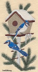 Winter Birdhouse with Blue Jays