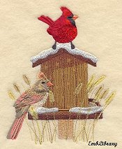 Cardinals and Birdhouse