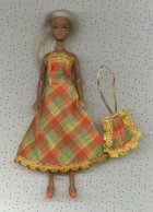 Fashions ---Plaid dress with bag